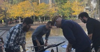 So Percussion leads an Art Walk, responding to sculptures across campus, as part of the Festival of the Arts! Check out the