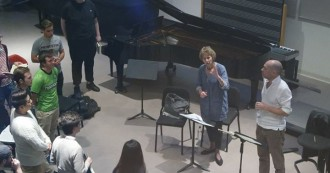 Esteemed English conductor and scholar Jane Glover works with students involved in Princeton University's upcoming production